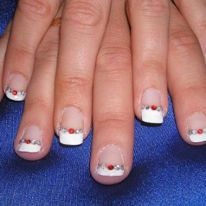 Diamonds are a girls best friend  French manicure with rhinestones