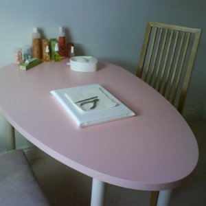 My new PINK table!  Followed  Bev Rose's advice & went to Ikea - found this fab pink table which is just the right size for my room.  Storage etc to follow on my next trip!