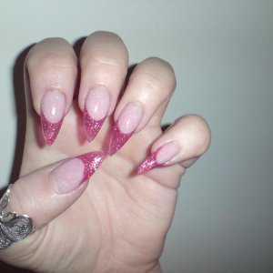 hurricane & cocktail time stillettos with custom blended extended nail beds