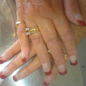 Glitter Acrylic tips with gel overlay