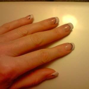 Acrylic Pro-Impessions White tips and Sheer Pink overlay NSI