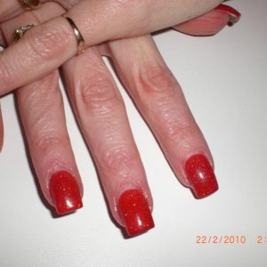 fire engine red NSI with opal shimmer mix...