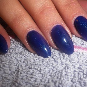 blue and purple colour gel with glitter