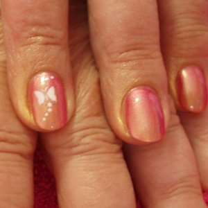 Popit application, Opi Paint, airbrushed  gold shimmer and white airbrushed butterflies.