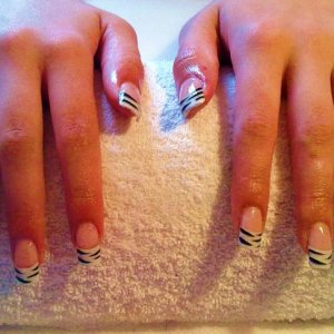 White Tips with clear overlay and painted on Zebra stripes