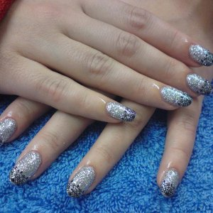 Silver glitter in gel with Black Lace stickers on tips
