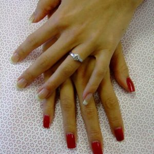 My Calgel Premier Status nails.... In order to pass, we must produce a set competition nails. Left hand must be pink & white sculpts. Right hand Tip and overlay painted with red Calgel.