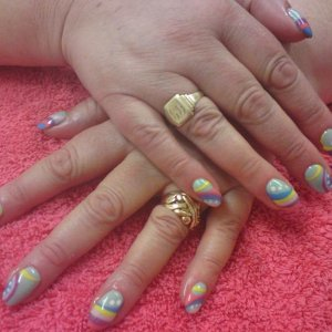 Swirly rainbow nails with BioSculpture Gels