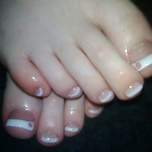 Acryic french with Pink flower gems