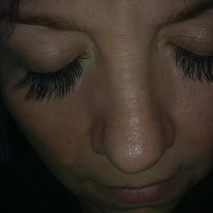 Sorry picture not very good its a bit dark,  Extra long lashes for that really glam look plus two gems.  LOL my nose looks huge!!!