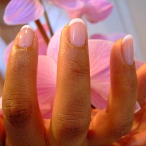 Shellac French.  1 layer Romantique, 1 layer Negligee.