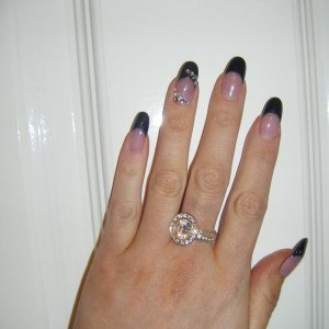 black glitter acrylic tips + touch of bling!
