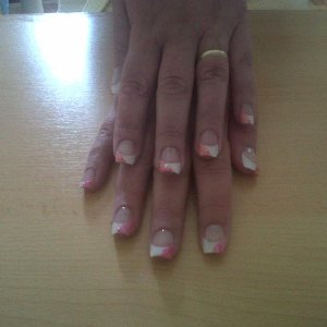 white tips acrylics with glitter effects