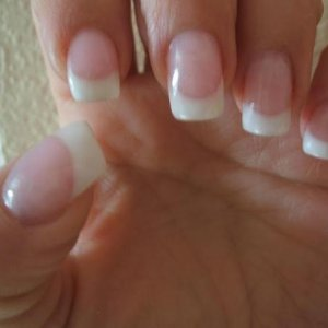 Akzenta coverage cool gel with ultra french white gel on natural nails.