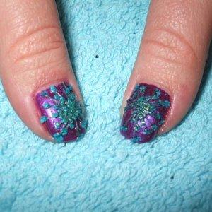 Sarah's Thumbs Dried Flower Nail Art