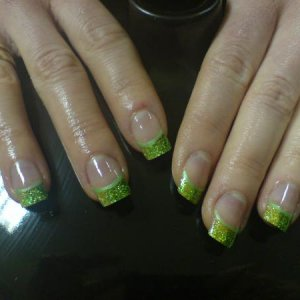 green and yellow inverted glitter! my first ever attempt !!