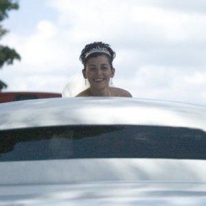 Me sprouting out of our limo!!