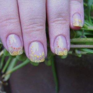 Natural Nail Overlay with the fruity things & nail art