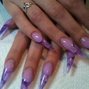 Amy's stilettos, design was adapted from Rebecca Ormes winning fancy French nail which rocked!