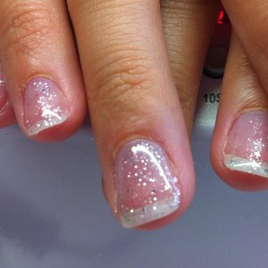 Gelish Simply Sheer with Waterfield over the top.