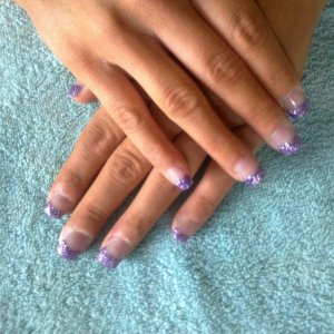 glitter acrylics on bitten nails.xoxoxoxo