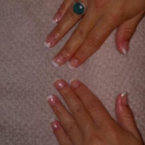 after - sculpted using young nails synergy gel, clear and snow - 1st scuplt ever - was hard work but enjoyed it :O) wasnt to happy about some of the tips but practice i must !!