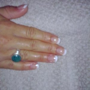 after - sculpted using young nails synergy gel, clear and snow - 1st sculpt ever (not a good pic)