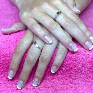 Bridesmaid, natural nails frenched