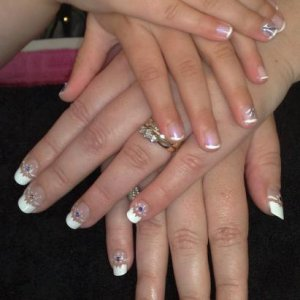 2 x bridesmaids, mother and daughter, natural nails with art. Mums was airbrushed.