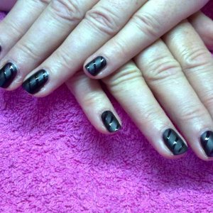 Opi Matte. Lincoln Park after dark with striped clear top coat