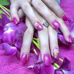 acrylic with gelish and 3d art