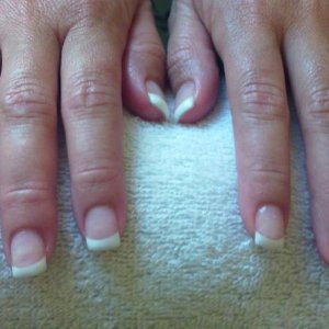 Young Nails Synergy Gel  White Sculpture and Clear Build Getting there bit by bit !!