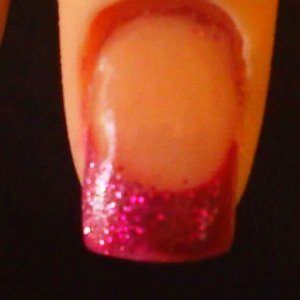 Reverse application with coloured acrylic and glitter