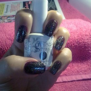 My new gelish nails bellas vampire and water field