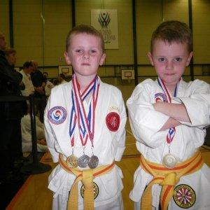 Samuel Cromar and Joshua Cromar. Samuel 1 Gold & 2 Silver Joshua 1 Bronze Jikishin JuJitsu Competion Southend Nov. 2010