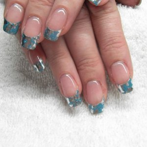 Trendy Nails wrap professional cut 'Into the Blue' with Gelish overlay on natural nails.