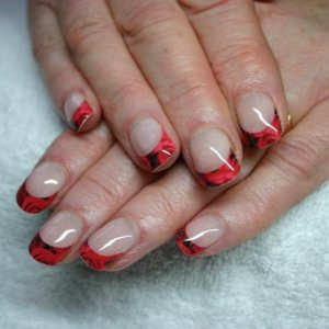 Trendy Nails wrap professional cut 'Rose Rouge' with Gelish overlay on natural nails.