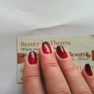 gelish - Colour fade using black shadow and good gossip.  The picture doesnt do the metallic glitter effect enough justice.