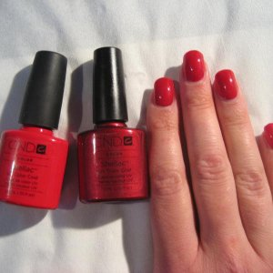 Red Baroness with Wildfire - gel nail shellac overlay on myself