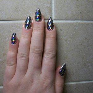 illusions fishnets minx on CND L+P Stilettos! My 1st go on my own bitten nails! :)