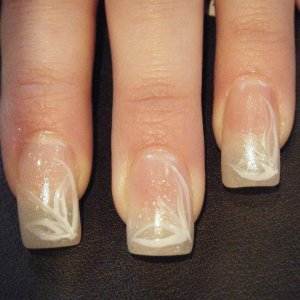 natural with specs of white glitter & nail art