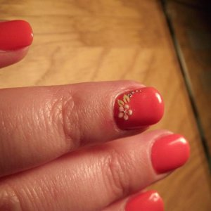 Shellac Tropix with Frangipani nail stickers
