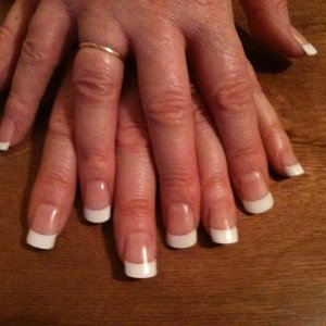 My First Set of white tips with UV acrylic overlay ....practice