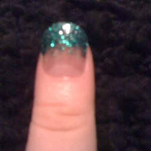 Acrylic and green glitter