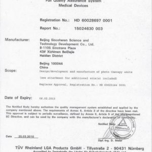 Medical CE for Sienna Machine. This is the certification for the medical use of the IPL machine. So it has a good quality and effective.