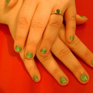 rockstar green on v short nails - my little sisters nails