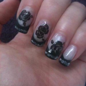 Black 3D gel roses