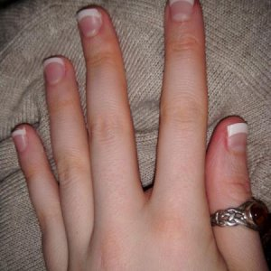 White tips pink acrylic
