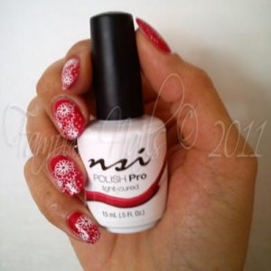 """NSI Polish Pro """"Hot Pink Peony"""" with Konad nail art."""