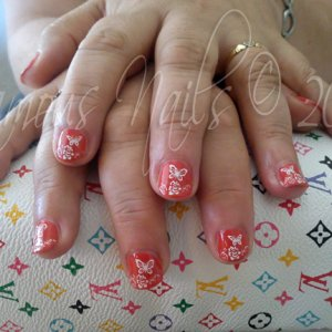 """And here's the nails after; with NSI Polish Pro """"Orange Red"""" & Konad :)"""
